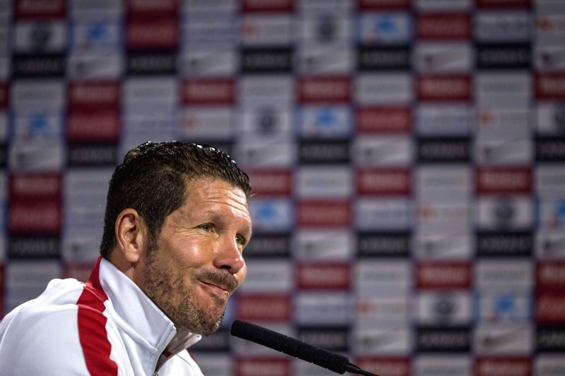 Atletico Madrid's Argentinian coach Diego Pablo Simeone, during a press conference held after a team's training session at Cerro del Espino sports complex in Madrid, Spain, 10 April 2015. Atletico ...