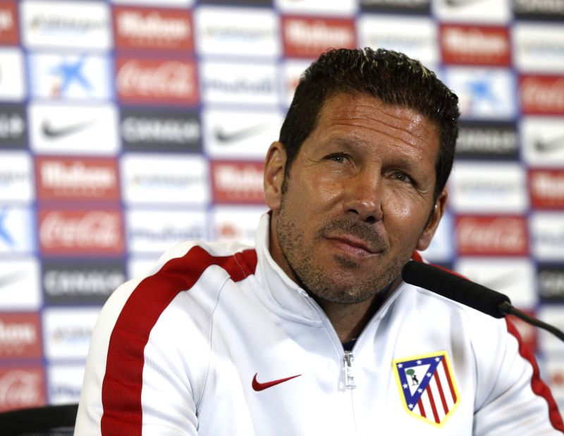 Atletico Madrid's Argentinian head coach Diego Simeone during the press conference held at Vicente Calderon's stadium in Madrid, Spain on 6 April 2015. Atletico Madrid will face Real Sociedad during ...