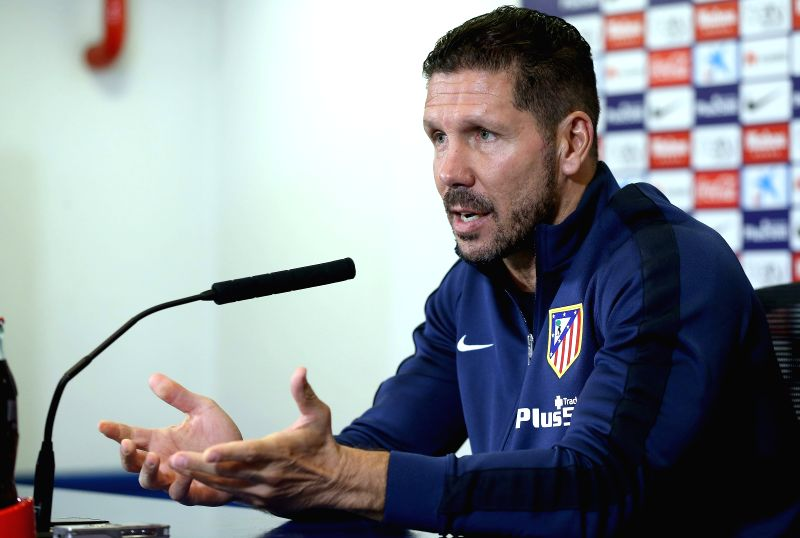 Atletico Madrid's Argentinian head coach Diego Simeone attends a press conference held at Vicente Calderon stadium, in Madrid, Spain, 21 September 2015, on the eve their Spanish Liga Primera Division ...(Image Source: EFE)
