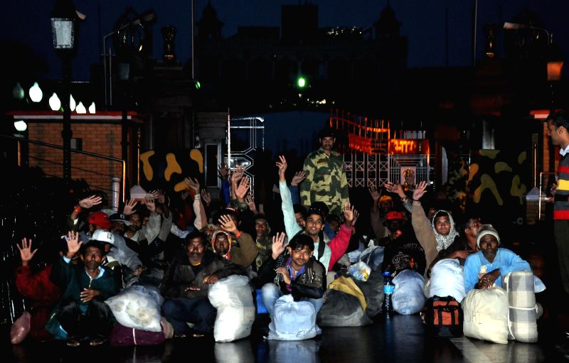 Attari border: Indian fishermen and other prisoner arrived at the Attari border after Pakistan released 173 Indian prisoners from two jails in Karachi in a goodwill gesture in Amritsar, on Feb 16, ...