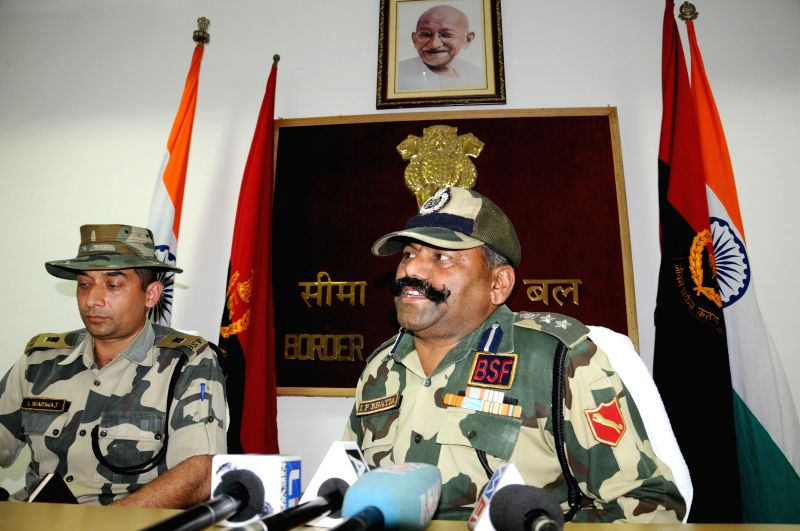 Border Security Force (BSF) officials briefs media regarding 3 (BSF) troopers who were injured in cross border firing in Amritsar sector of Punjab by smugglers from the Pakistani side at the ...