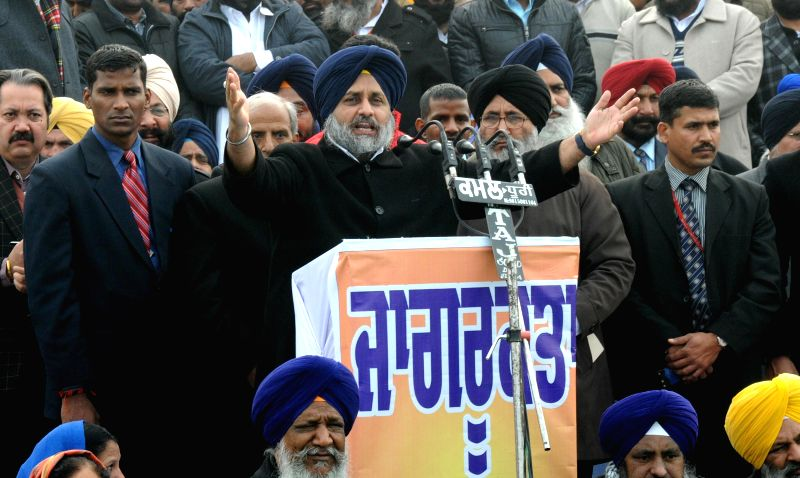 Punjab Deputy Chief Minister Sukhbir Singh Badal addresses during an anti-drug rally at Attari border, near Amritsar on Jan. 5, 2015. - Sukhbir Singh Badal