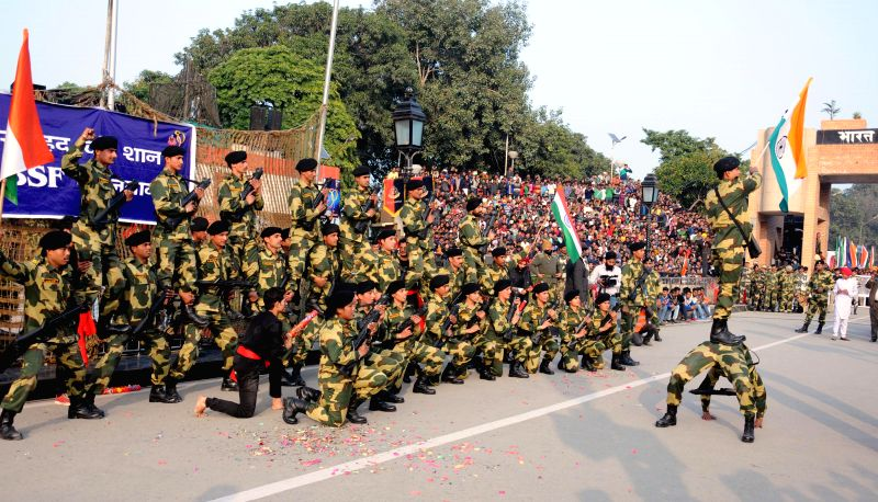 Soldiers demonstrate their skills during a Republic Day programme organised at the Attari-Wagha (Indo-Pak) border on Jan 26, 2015.