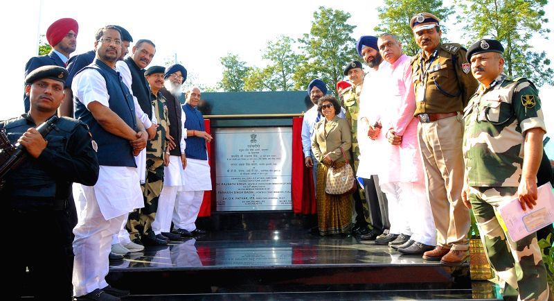 Union Home Minister Rajnath Singh, Punjab Chief Minister Parkash Singh Badal and other leaders inaugurating the construction work of viewer's gallery at Attari international border on March ... - Parkash Singh Badal