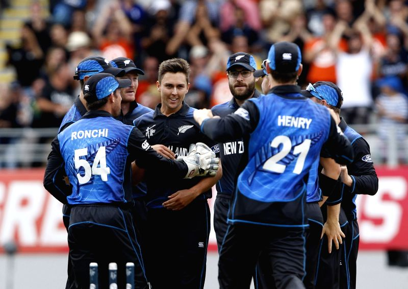 Auckland: New Zealand players celebrates fall of a wicket during ​the​ ICC World Cup 2015 semi-final match between New Zealand and South Africa at Eden Park, Auckland, New Zealand on ...