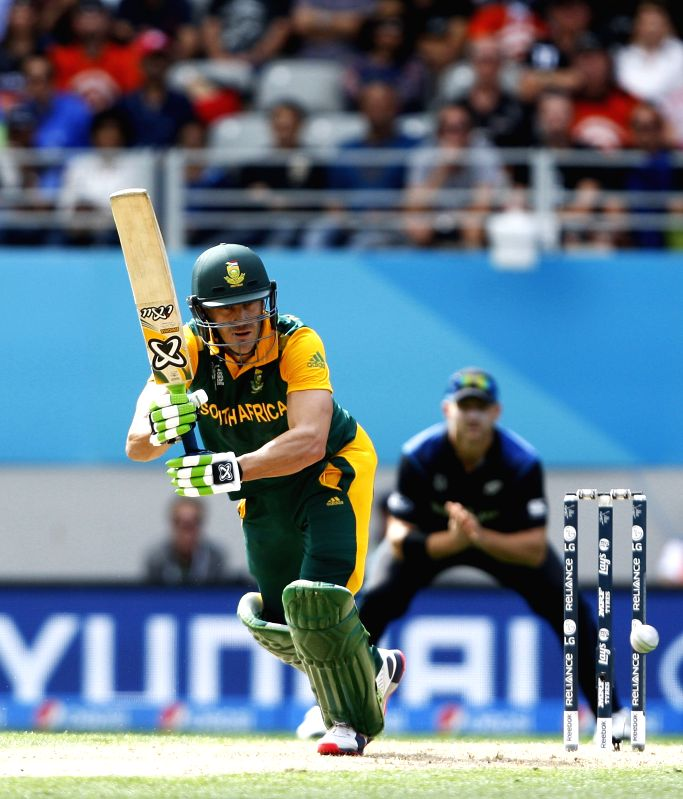 Auckland: South African cricketer Faf du Plessis in action during the ICC World Cup 2015 semi-final match between New Zealand and South Africa at Eden Park, Auckland, New Zealand on March ...