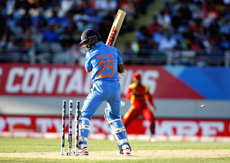 Indian batsman Shikhar Dhawan in action during an ICC World Cup 2015 match between India and Zimbabwe at the Eden Park in Auckland, New Zealand on March 14, 2015. - Shikhar Dhawan