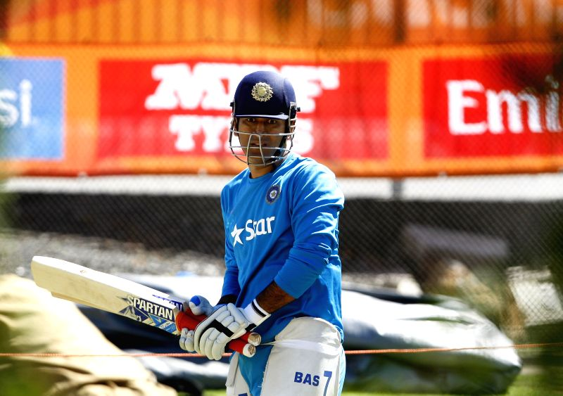 Indian captain M S Dhoni during a practice session ahead of an ICC World Cup - 2015 match against Zimbabwe at the Eden Park in Auckland, New Zealand  on March 13, 2015. - M S Dhoni