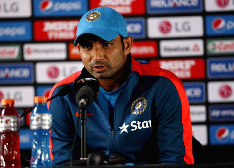 Indian cricketer Mohammed Shami addresses a press conference ahead of a World Cup - 2015 match against Zimbabwe at the Eden Park in Auckland, New Zealand on March 13, 2015.