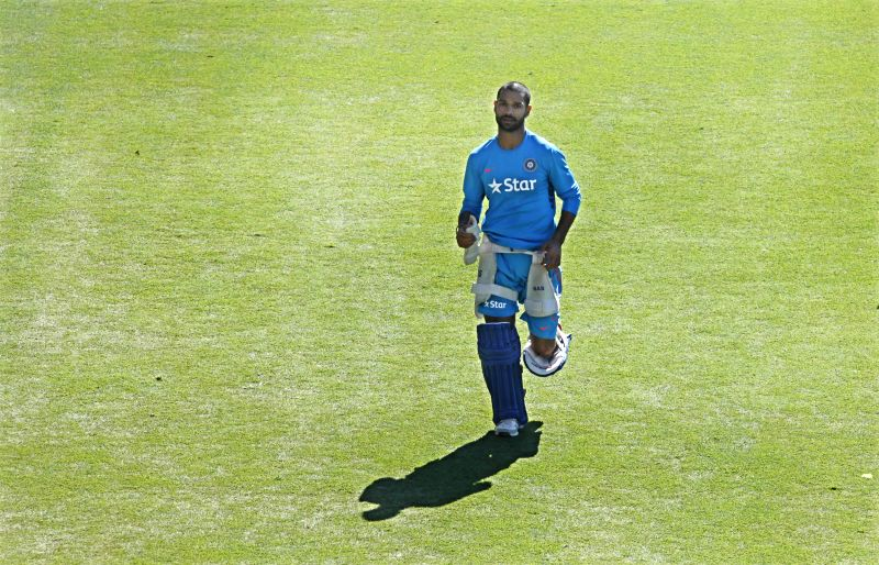 Indian cricketer Shikhar Dhawan during a practice session ahead of an ICC World Cup - 2015 match against Zimbabwe at the Eden Park in Auckland, New Zealand  on March 13, 2015. - Shikhar Dhawan