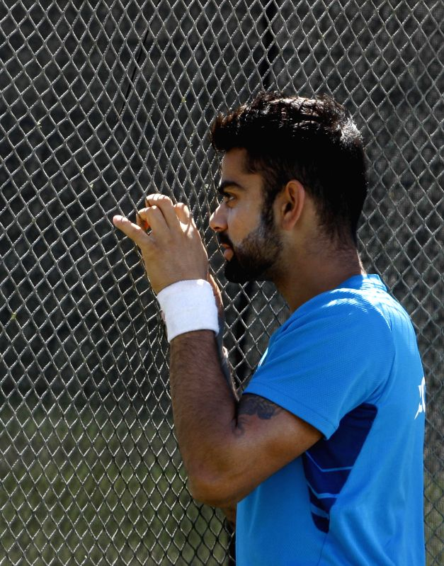 Indian cricketer Virat Kohli during a practice session ahead of an ICC World Cup - 2015 match against Zimbabwe at the Eden Park in Auckland, New Zealand  on March 13, 2015. - Virat Kohli