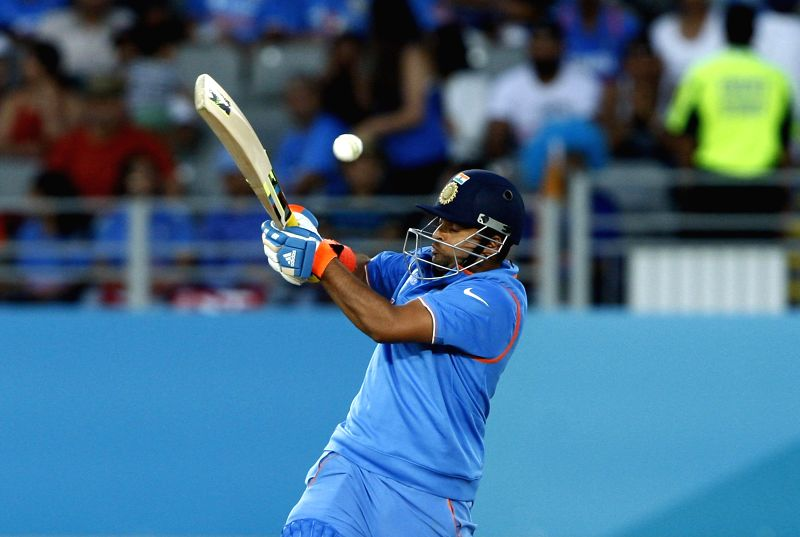 ndian batsman Suresh Raina in action during an ICC World Cup 2015 match between India and Zimbabwe at the Eden Park in Auckland, New Zealand on March 14, 2015. - Suresh Raina