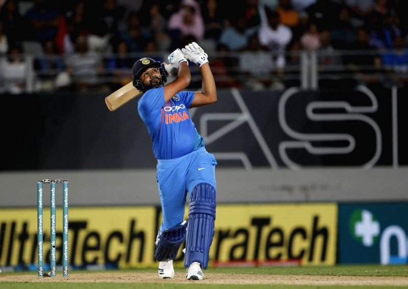 Indian captain Rohit Sharma in action during the second T20I match between India and New Zealand at Eden Park in Auckland, New Zealand