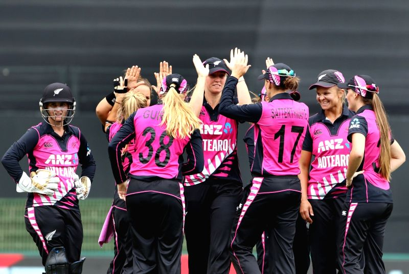 Auckland (New Zealand): New Zealand players celebrate the wicket of Harmanpreet Kaur during the second women's T20I match between India and New Zealand at Eden Park in Auckland, New Zealand on Feb 8, 2019. (Photo: Surjeet Yadav/IANS)