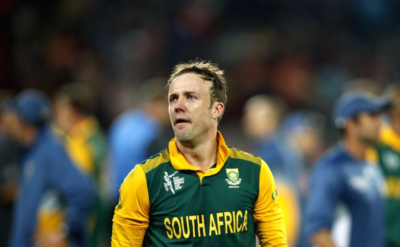 South African captain A B de Villiers ​​after losing​ to ​New Zealand​ ​in the ​​first semi-final match of​ ICC World Cup 2015 ​at Eden Park, Auckland, New Zealand on ... - A B