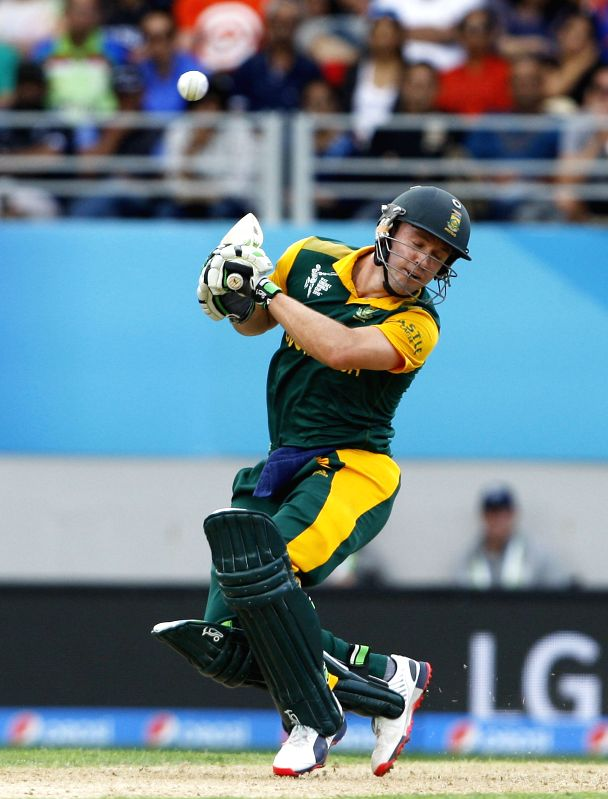 South African captain A B de Villiers in action during the ICC World Cup 2015 first semi-final match between New Zealand and South Africa at Eden Park, Auckland, New Zealand on March 24, ... - A B