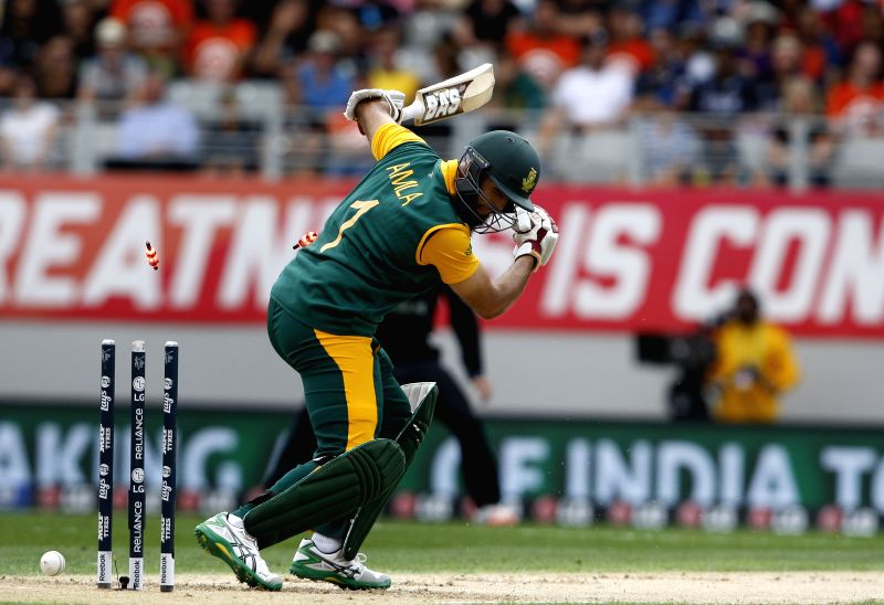 South African cricketer Hashim Amla clean bowled during the ICC World Cup 2015 semi-final match between New Zealand and South Africa at Eden Park, Auckland, New Zealand on March 24, 2015.