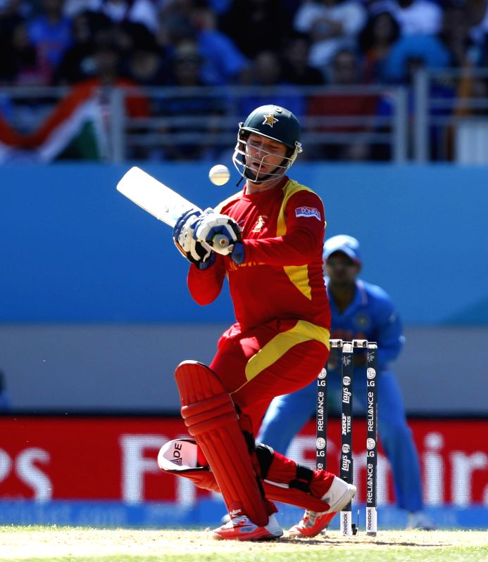 Zimbabwean cricketer Brendan Taylor in action during an ICC World Cup 2015 match between India and Zimbabwe at the Eden Park in Auckland, New Zealand on March 14, 2015.