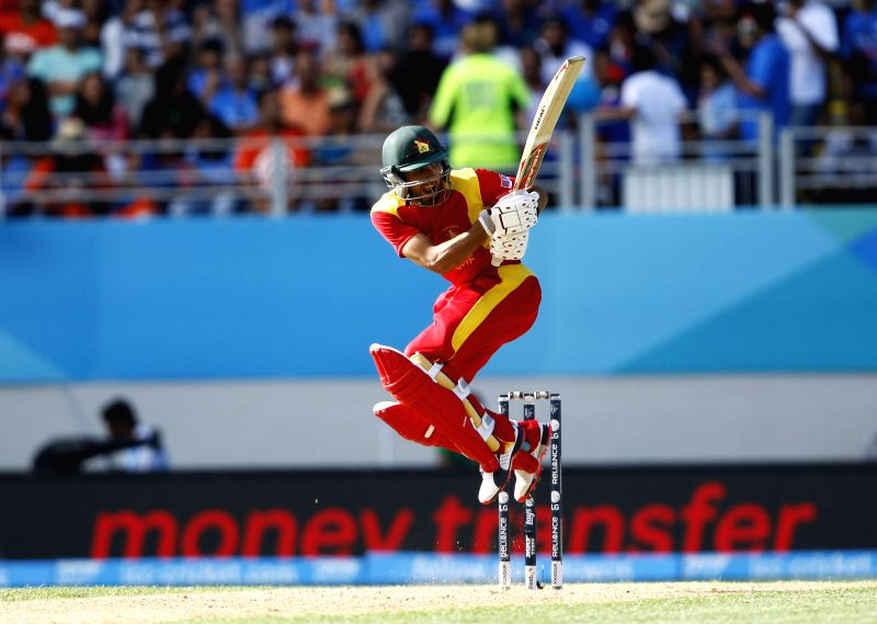 Zimbabwean cricketer Regis Chakabva in action during an ICC World Cup 2015 match between India and Zimbabwe at the Eden Park in Auckland, New Zealand on March 14, 2015.