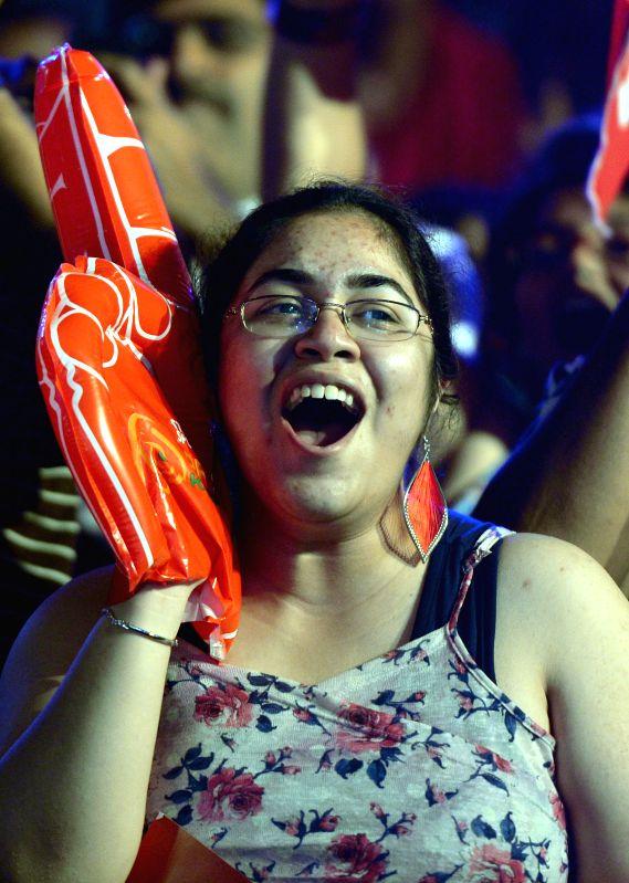 Audience during a Pro-Kabaddi League match between Bengal Warriors and Bangalore Bulls at Kanteerava Indoor Stadium in Bangalore on Aug 24, 2014.