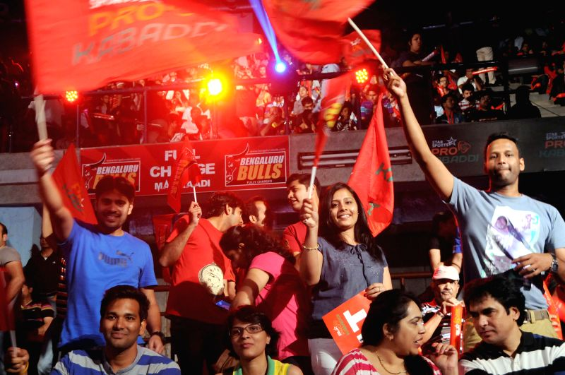 Audience during a Pro-Kabaddi League match between Bengal Warriors and Bangalore Bulls at Kanteerava Indoor Stadium in Bangalore on Aug 24, 2014.