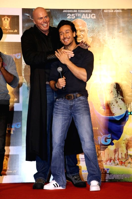 Australian actor Nathan Jones and Tiger Shroff during the trailer launch of film Flying Jatt in Mumbai on July 18, 2016 - Nathan Jones