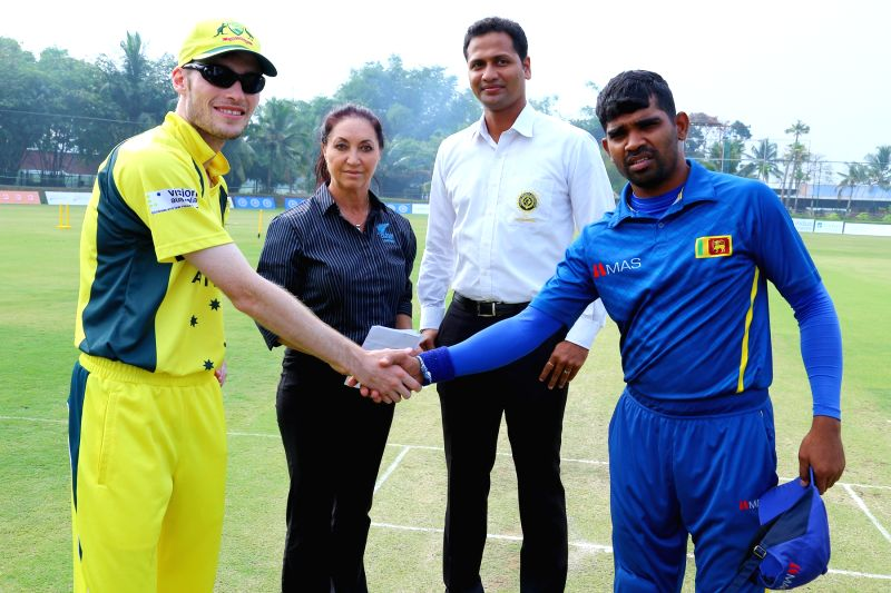 Australian and Sri Lankan captains during the T20 Blind World Cup match between South Africa and Pakistan in Bengaluru on Feb 6, 2017.
