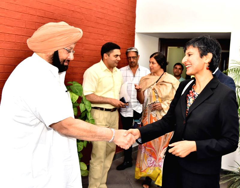 Australian High Commissioner to India Harinder Sidhu calls on Punjab Chief Minister Captain Amarinder Singh in Chandigarh on May 4, 2017. - Captain Amarinder Singh