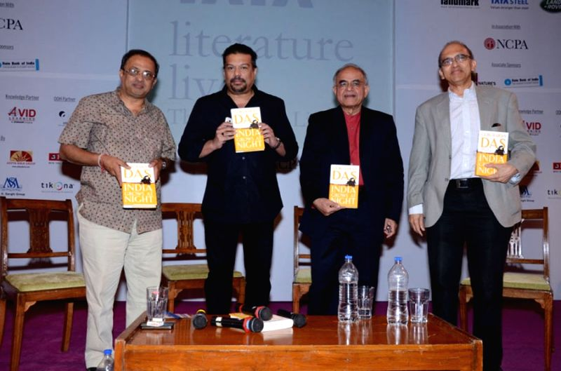 Author Gurcharan Das launching his book with celebs during the presentation of Nobel Laureate Sir Vidiya Naipaul's  Landmark Literature Live Lifetime achievement award in Mumbai.
