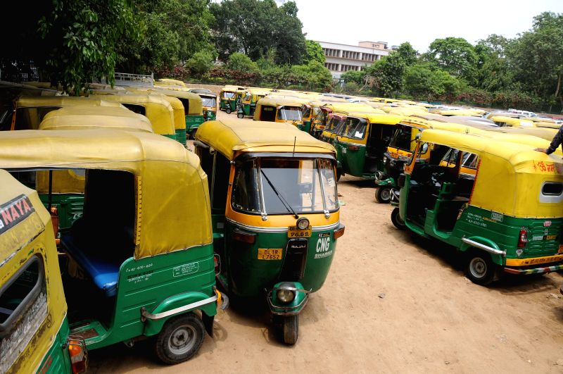 Auto-rickshaws remain off-street as drivers go on a day's strike against alleged highhandedness of traffic police and transport department in New Delhi on July 28, 2014.