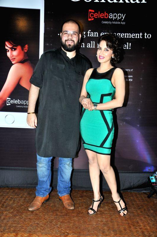 Avesh Dadlani with Smita Gondkar during the launch of mobile application, Smita Gondkar app, in Mumbai, on July 22, 2016.