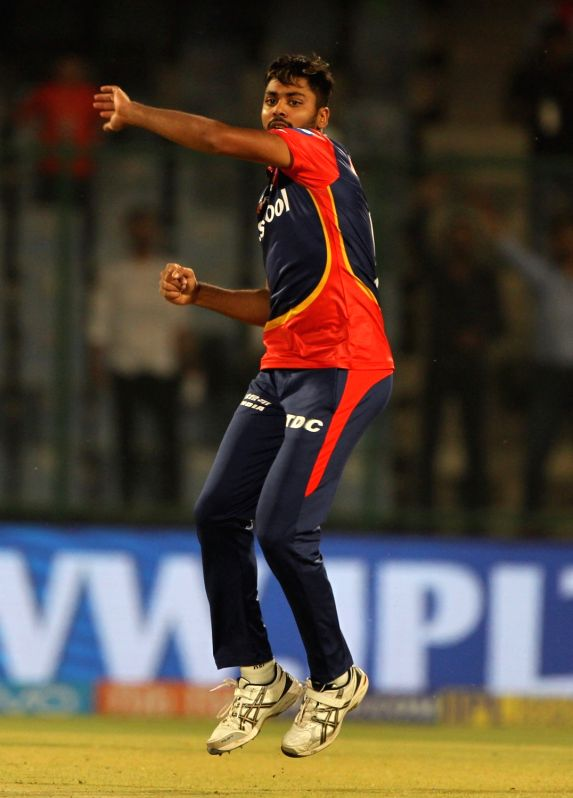 Avesh Khan of Delhi Daredevils celebrates fall of Aron Finch's wicket during an IPL 2018 match between Kings XI Punjab and Delhi Daredevils at Feroz Shah Kotla, in New Delhi on April 23, ... - Avesh Khan and Feroz Shah Kotla