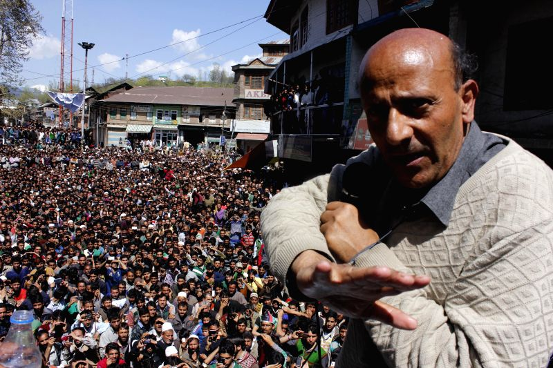 Awami Itihad Party (AIP) chief Engineer Sheikh Abdul Rashid during an election campaign in Kupwara of Jammu and Kashmir on April 27, 2014.
