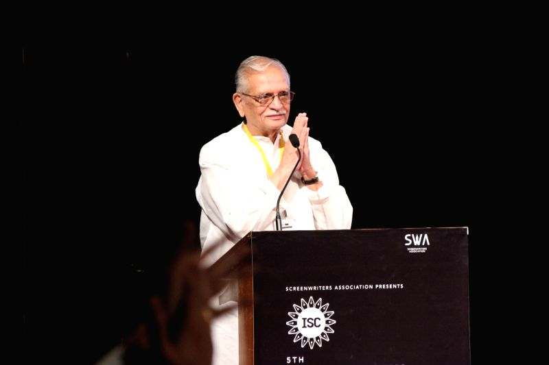 Award-winning poet, lyricist and film-maker Gulzar  at the 5th edition of Indian Screenwriters Conference in Mumbai on Aug 3, 2018.