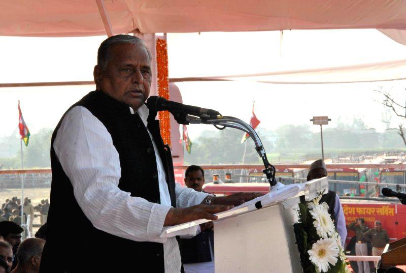 Samajwadi Party chief Mulayam Singh Yadav addresses during a programme organised in Azamgarh on Feb 6, 2015.