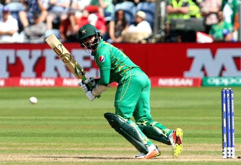 Azhar Ali of Pakistan in action during the first Semi-final match of ICC Champions Trophy between England and Pakistan at Sophia Gardens in Cardiff, Wales, Britain on June 14, 2017.