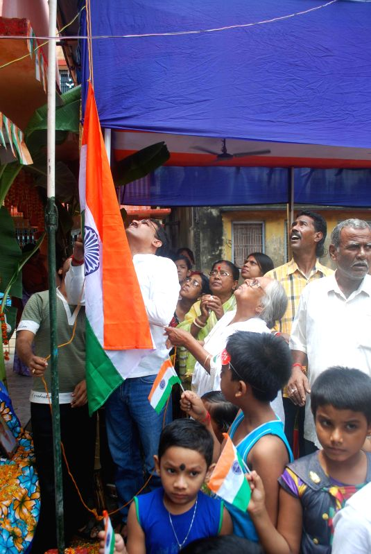 Babupara of Malda district in West Bengal celebrates Independence Day on Aug 18, 2014. This area of India was liberated on 18th August 1947 as against 15th August 1947 when the rest of the nation was