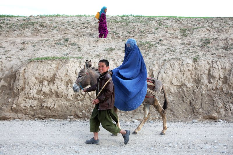 An Afghan woman rides a donkey along a road in Badakhshan province in northern of Afghanistan, May 6, 2014.