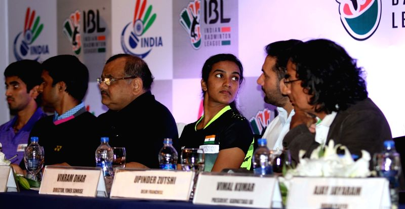 Badminton player K Srikanth, Chief national coach Pullela Gopichand, IBL Chairman and BAI President Akhilesh Das Gupta, player P V Sindhu, Yonex Sunrise director Vikram Dhar and Infinite ... - Akhilesh Das Gupta