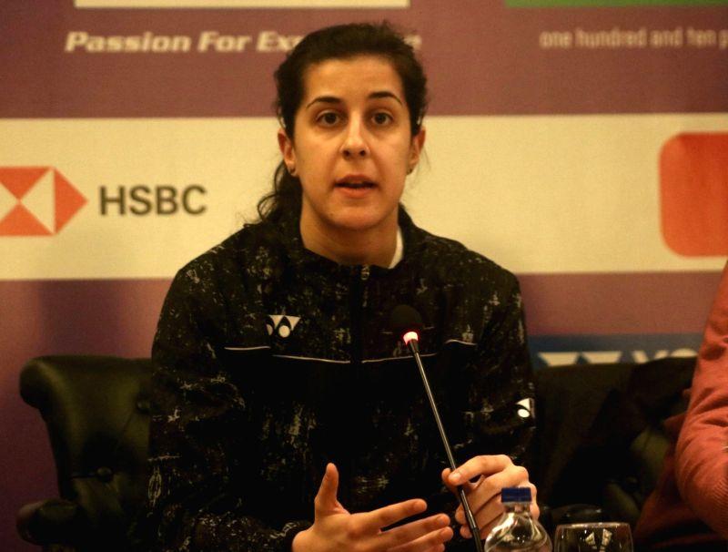 Badminton star Carolina Marin of Spain speaking to media during a press conference to launch Yonex- Sunrise Dr. Akhilesh Das Gupta India Open 2018 in New Delhi on Jan. 30, 2018.