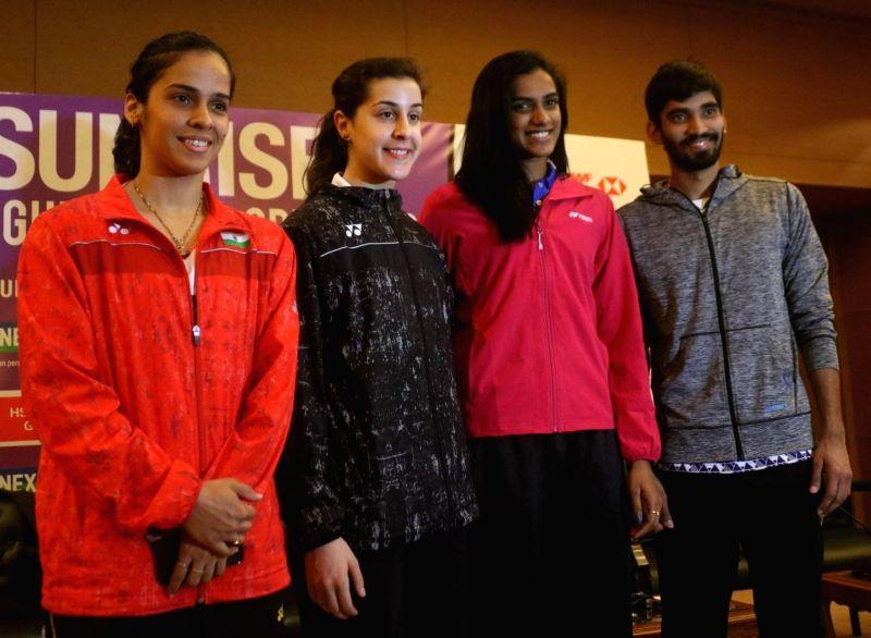 Badminton stars Saina Nehwal, Carolina Marin of Spain, PV Sindhu and Kidambi Srikanth during a press conference to launch Yonex- Sunrise Dr. Akhilesh Das Gupta India Open 2018 in New Delhi ...