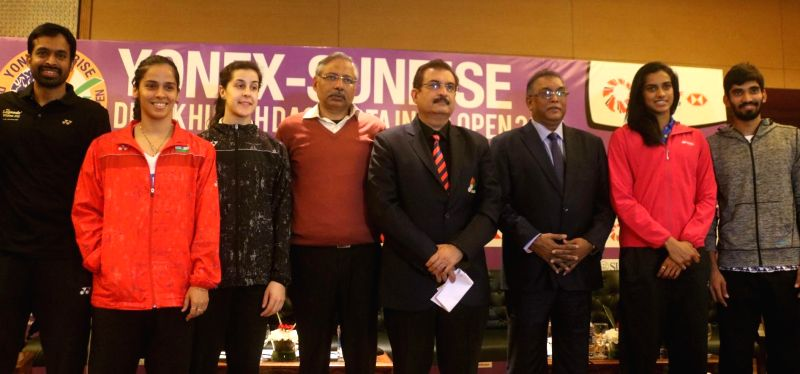 Badminton stars Saina Nehwal, PV Sindhu, Carolina Marin of Spain, Kidambi Srikanth along with national coach Pullela Gopichand and other officials during a press conference to launch ...