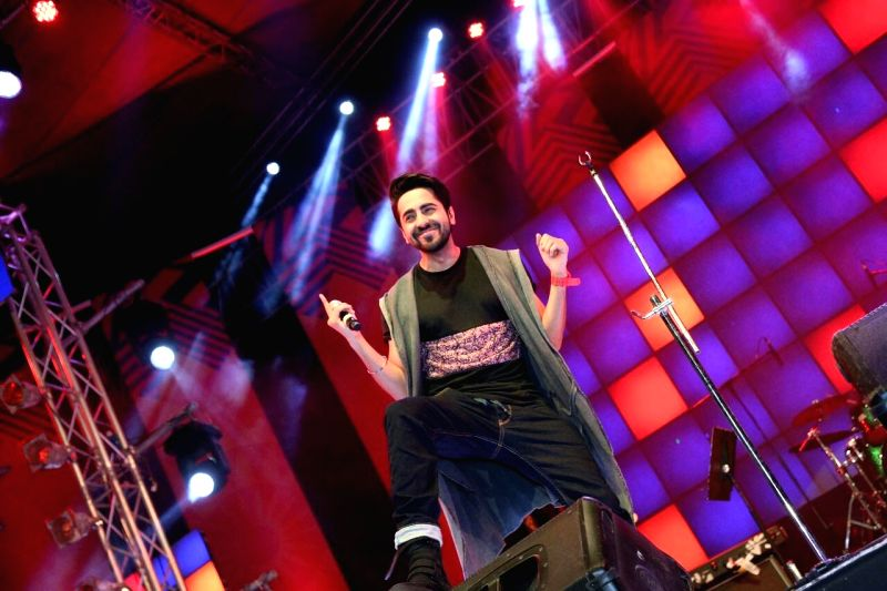 Actor Ayushmann Khurrana performs during the Microsoft VFest 2015 at Baga, 17 km away from Panaji on Feb 14, 2015.