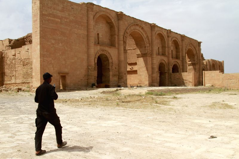 BAGHDAD, April 28, 2017 - An Iraqi paramilitary soldier patrols at the ancient Hatra city in the south of Nineveh province, Iraq, on April 28, 2017. Iraqi paramilitary units, known as Hashd Shaabi, ...