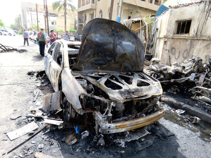BAGHDAD, April 29, 2017 - Iraqi security forces check the site of a suicide bombing in Karrada district of Baghdad, capital of Iraq, on April 29, 2017. At least five people were killed and ten others ...