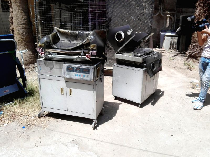 BAGHDAD, Aug. 10, 2016 - Burned incubators for newborn babies are seen at Yarmouk Hospital in Baghdad, capital of Iraq, Aug. 10, 2016. At least 20 newborn babies were killed on Wednesday in a fire at ...