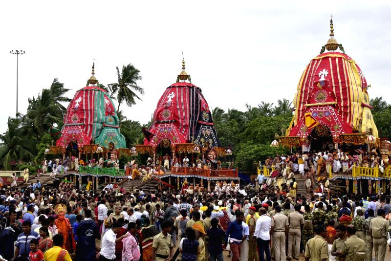 Bahuda Yatra' – the homecoming of Lord Jagannath, his elder brother Lord Balabhadra from Gundicha Temple to Srimandir underway in Puri district of Odisha on July 22, 2018.