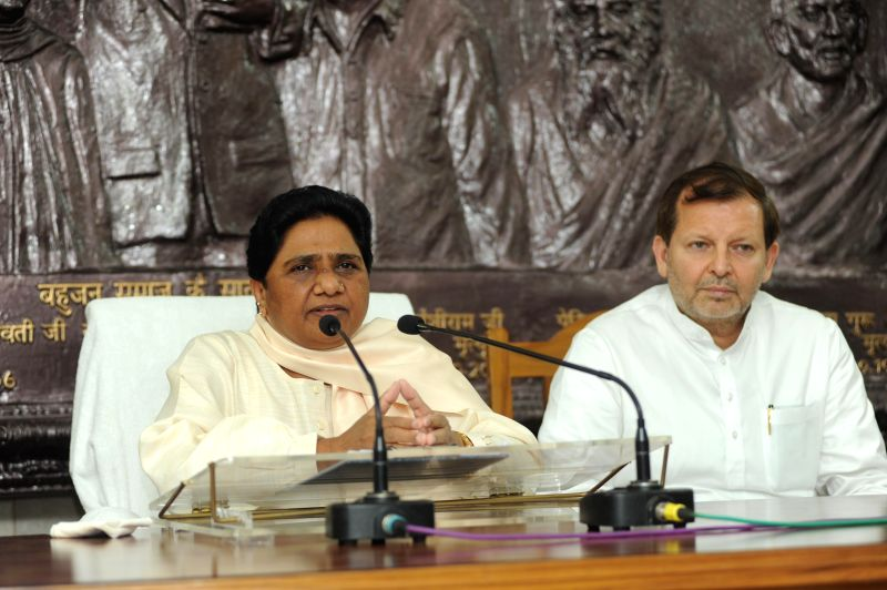 Bahujan Samaj Party (BSP) supremo Mayawati addresses a press conference in New Delhi on Aug 17, 2014.