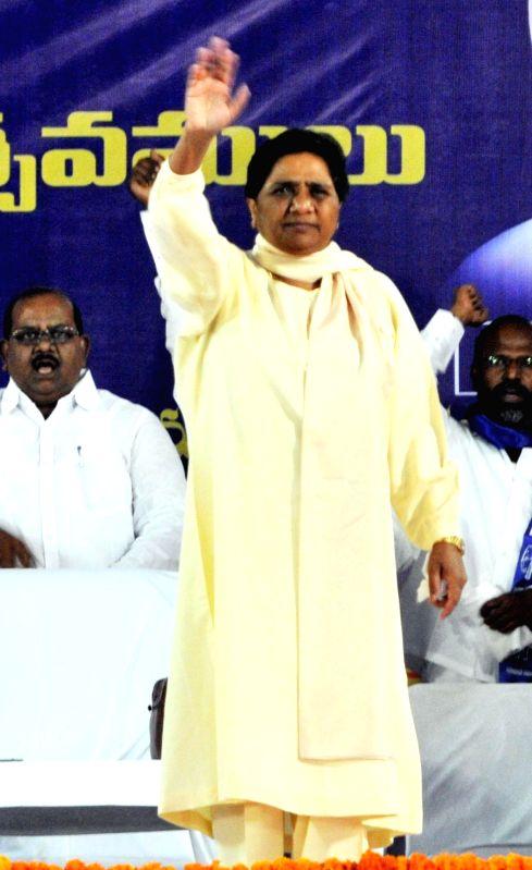 Bahujan Samaj Party supremo Mayawati during a rally in Hyderabad on April 14, 2014.