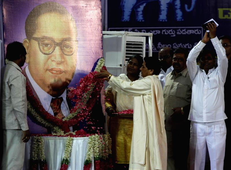 Bahujan Samaj Party supremo Mayawati pays tribute to  Dr. BR Ambedkar on his birth anniversary during a rally in Hyderabad on April 14, 2014.
